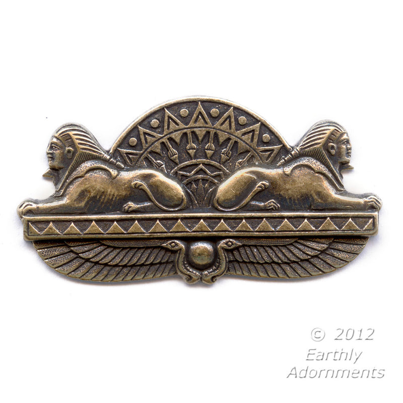Vintage brass double sphinx Egyptian revival stamping. Sold individually. 50 x 25mm. b9-2199