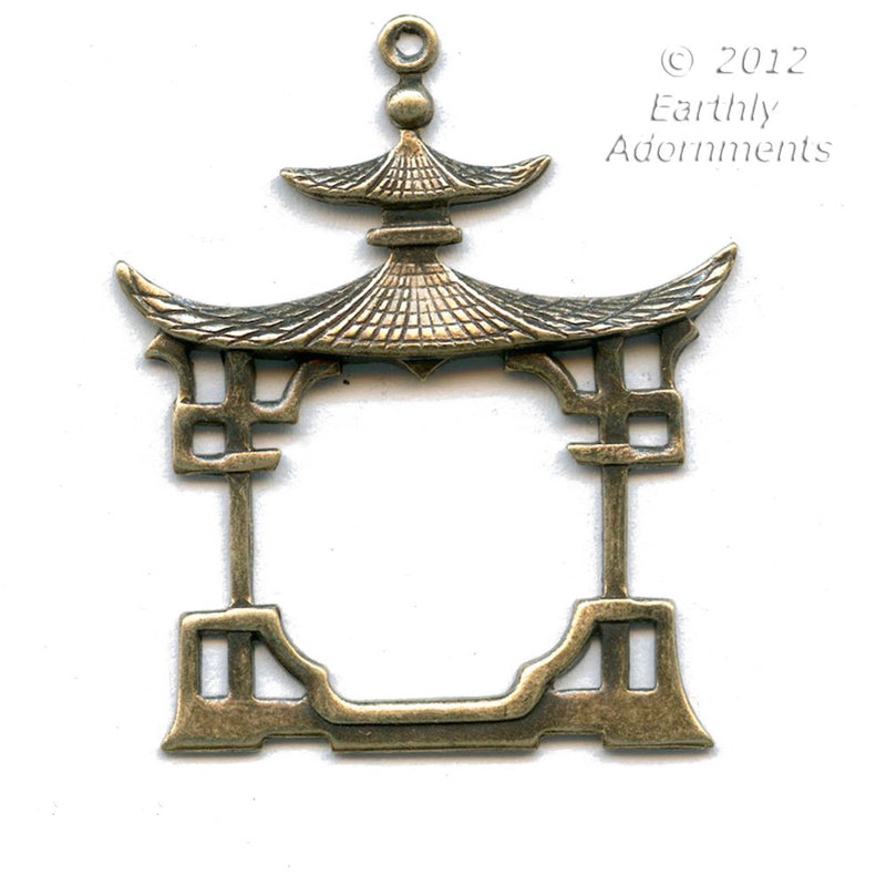 Oxidized brass Chinese pagoda stamping. 39x30mm 2 pc. b9-2211