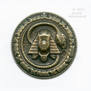 Oxidized brass Egyptian Revival style pendant. 45mm diameter. Sold invidually. b9-2212