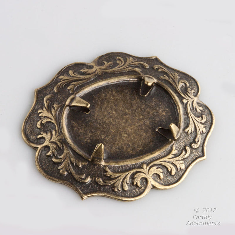 b9-2215-Oxidized brass 25x18mm setting with prongs sold individually