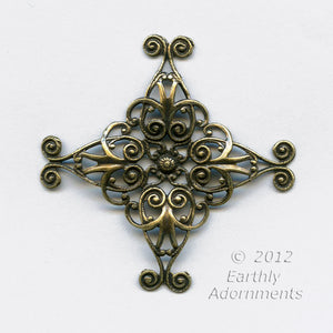 Oxidized brass filigree wrap. 35mm. Sold individually. b9-2217(e)