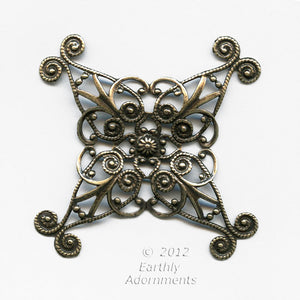 Oxidized brass filigree wrap. 60mm. Sold individually. b9-2219(e)