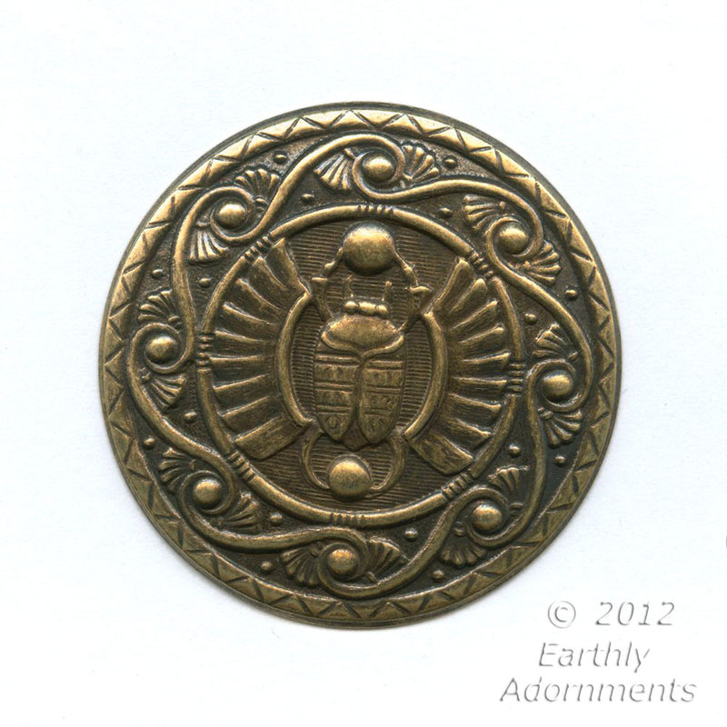 Oxidized brass Egyptian Revival style pendant. 45mm diameter. Sold individually. B9-2221