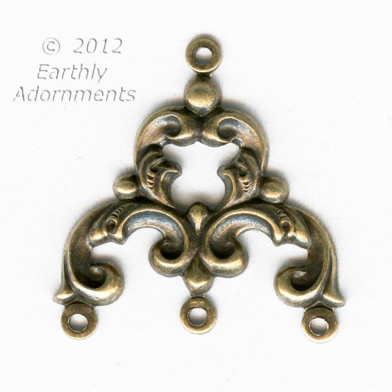 Oxidized brass 1 to 3 ring connector or chandelier. 22 x 22mm. 2