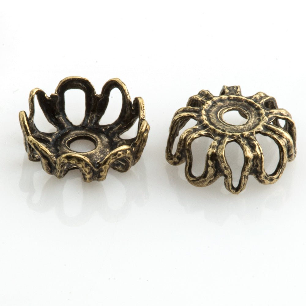Oxidized brass filigree bead cap. 6 x 2 mm. Package of 12. B9-2266(e)