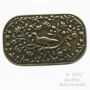 Oxidized stamped brass pheasant plaque or pendant 44x35mm. Sold individually. b9-2229