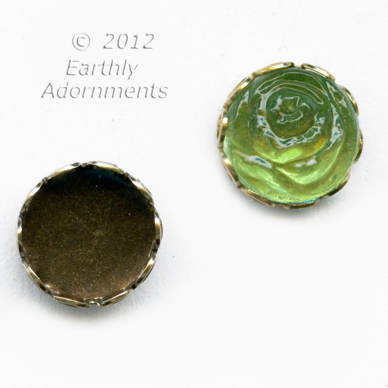 Oxidized brass lace edge setting for 7-8mm round flat back stone.