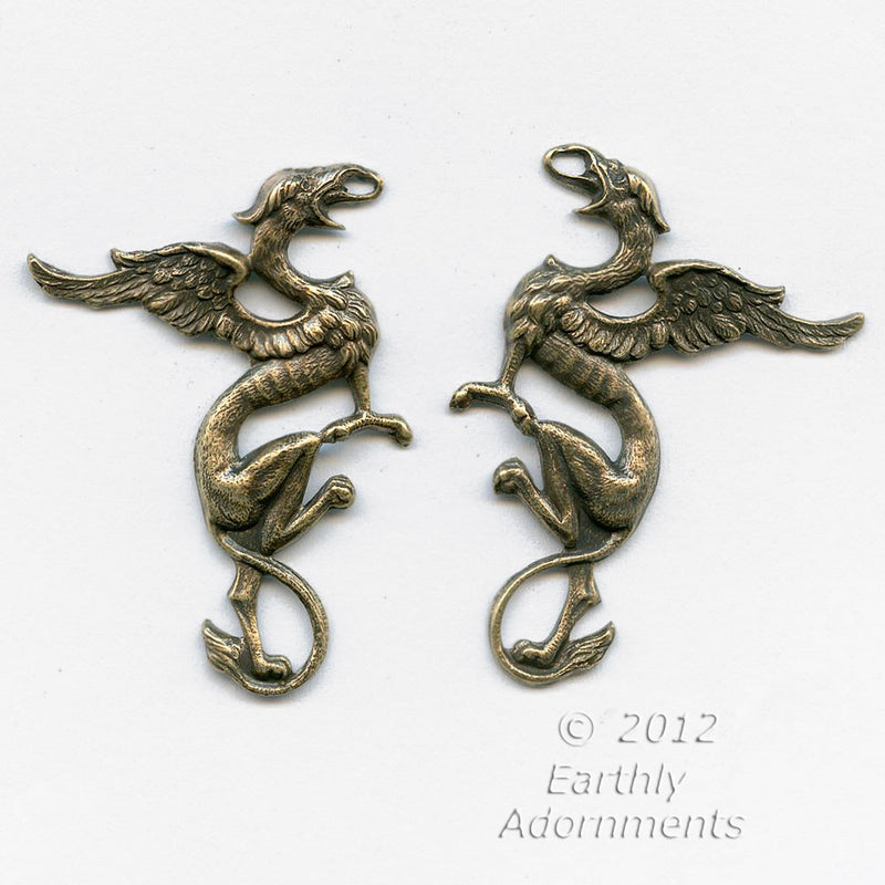 Oxidized brass stamped gryphons, one pair, 43x32mm. b9-2251(e)