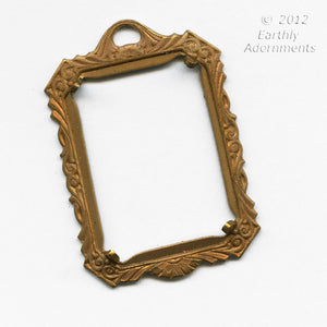 Oxidized brass 24x18mm openback flat prong setting with 1 ring. Sold individually. b9-2254