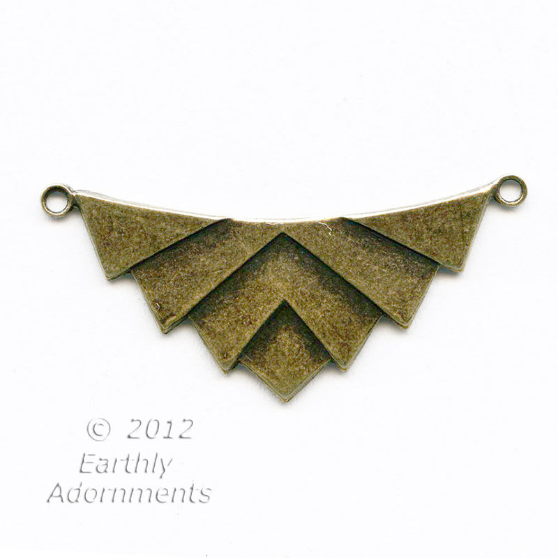 Oxidized brass Art Deco style 2 ring pendant connector 32x14mm Pkg 2