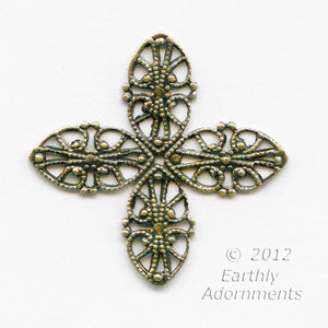 Oxidized brass 4 petal stamped filigree for wrapping 42mm point