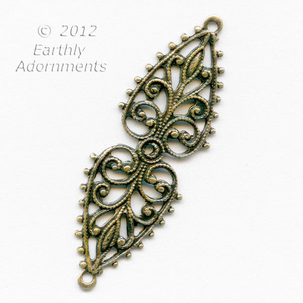 Oxidized brass 2 ring stamped filigree wrap or bail 37x12mm.