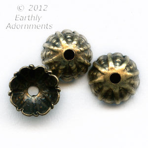 Oxidized brass fluted and textured 7mm bead cap. 12 pcs. b9-2261(e)