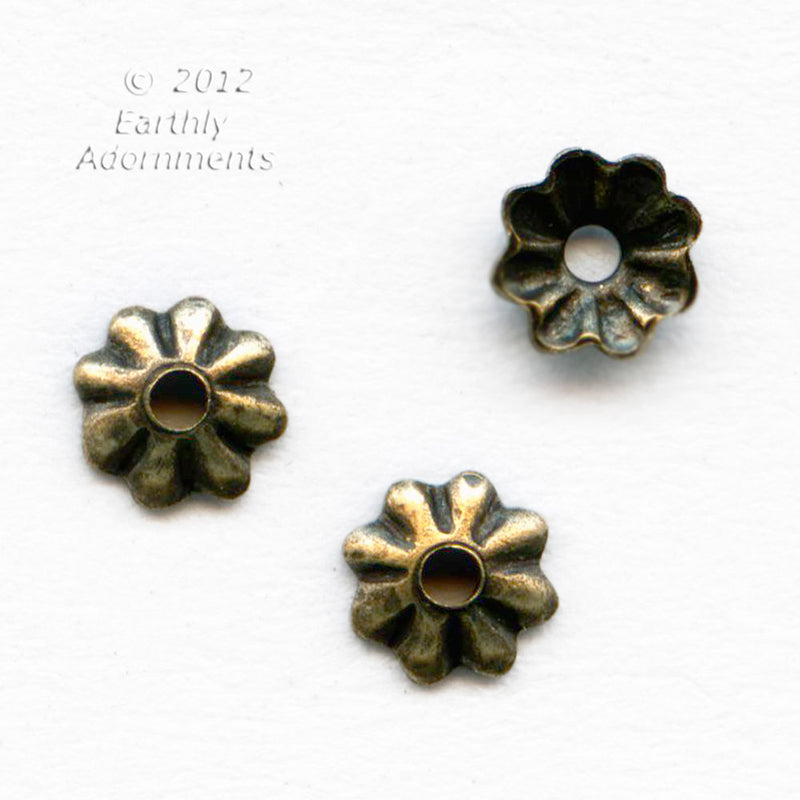 Fluted oxidized brass bead cap 3.5mm. 18 pcs. b9-2418