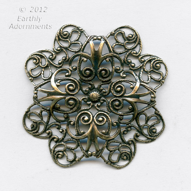 Oxidized brass stamped filigree pendant or wrap. 38mm. Sold individually. B9-2272