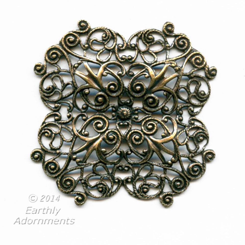 Oxidized brass stamped filigree pendant or wrap. 48mm. Sold