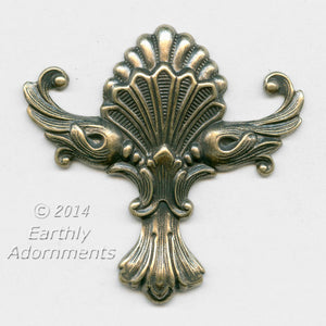 Oxidized brass ornamental stamping 44 x 44mm. sold individually. b9-2270