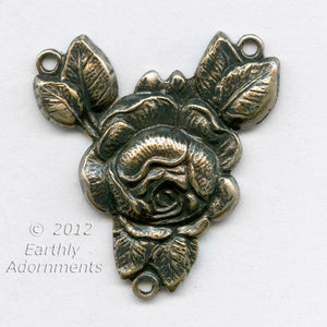 Oxidized stamped brass rose 2 to 1 ring connector, 27x24mm 1 pc.