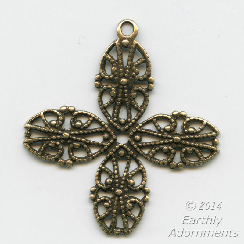 Oxidized brass 4 petal stamped filigree with ring for wrapping. Pkg. of 2. b9-2282