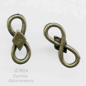 Oxidized brass figure-8 connector. 15x6mm. Pkg of 4. B9-2297(e)