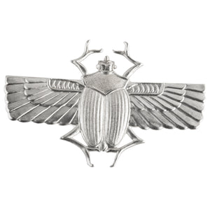Egyptian Revival Sterling Silver Plated Brass Stamping of Winged Scarab. 65x45mm. Sold individually. b9-2298-s