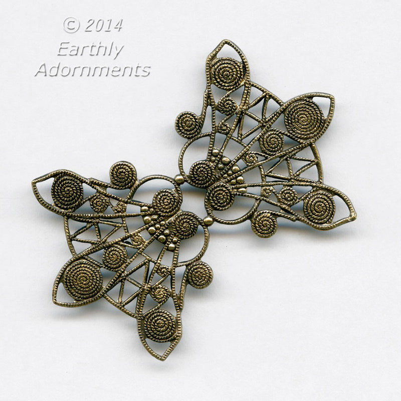 Oxidized brass stamped filigree pendant or wrap. 50x35mm. Sold individually. b9-2304