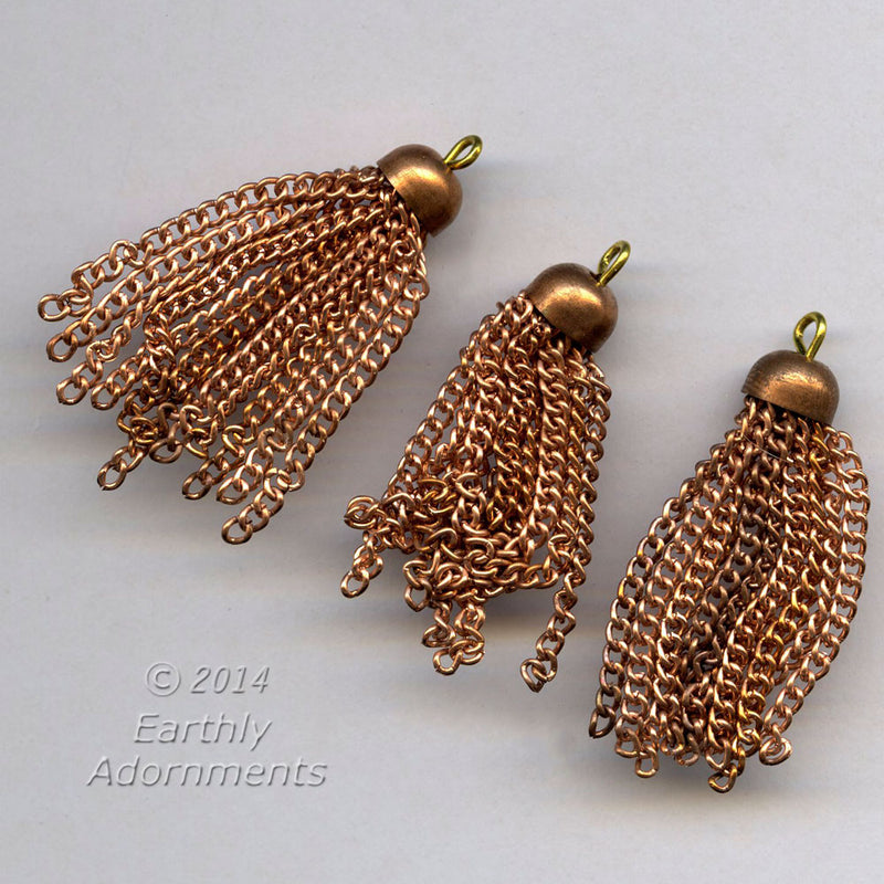 Vintage copper-plated steel chain tassels. 9mm cap. 1.75 inches. Pkg. of 6. b9-2318