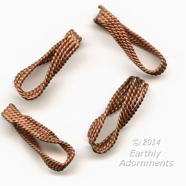 Vintage copper plate steel twisted links. 20x7mm. Package of 10.