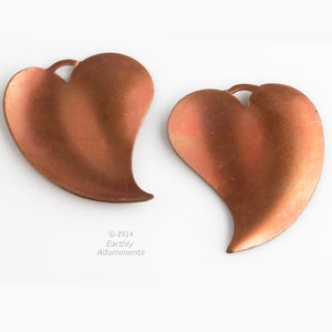 Copper retro leaf pendant. 37x30mm. Package of 2. B9-2327(e)