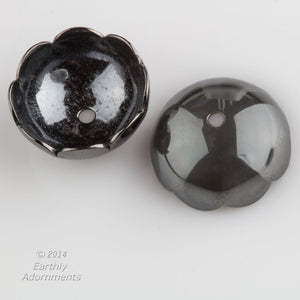 Vintage shiny gunmetal finish bead caps, 13mm. Package of 4.