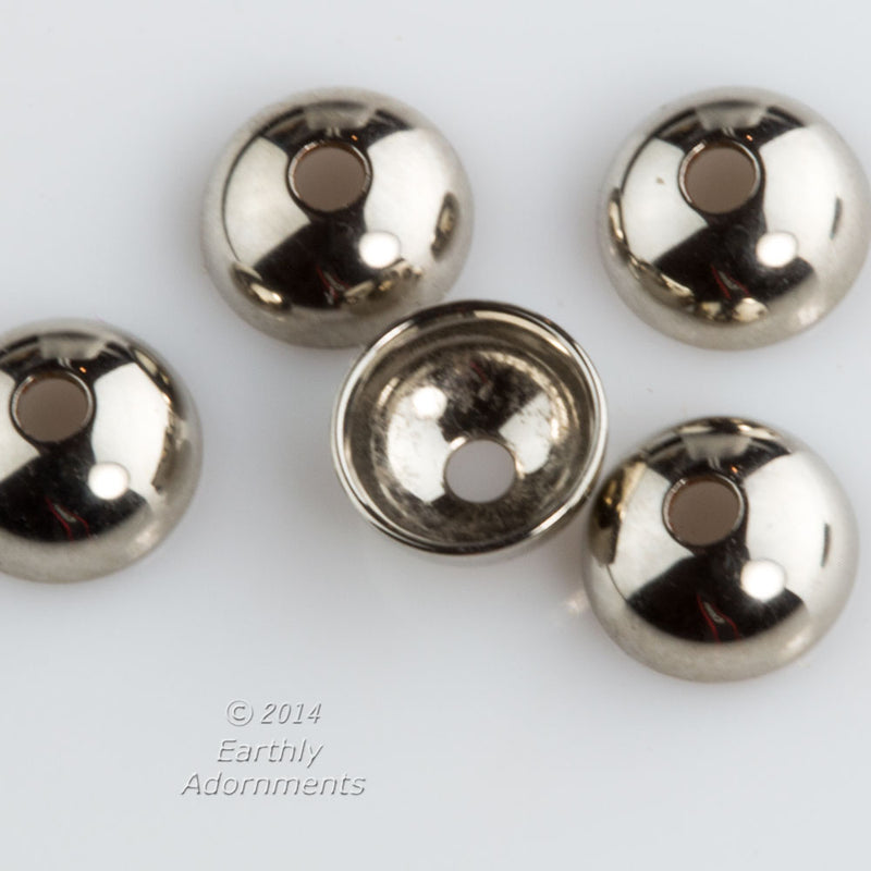 Silver plated bead caps, 6mm. Package of 20. b9-2331(e)