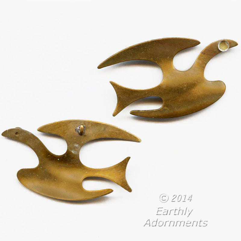 Brass soaring bird pendant. Measures 63x35mm. Sold individually.