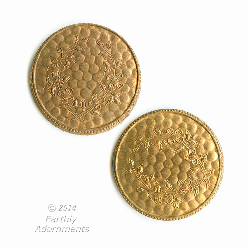 Textured brass disks with faint floral design. 22mm. Package of 2. b9-2342