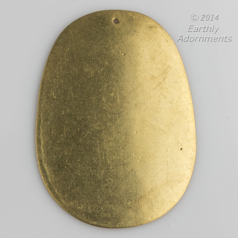 Solid brass oval flat disk pendants. 47x33mm. Package of 2. b9-2343(e)