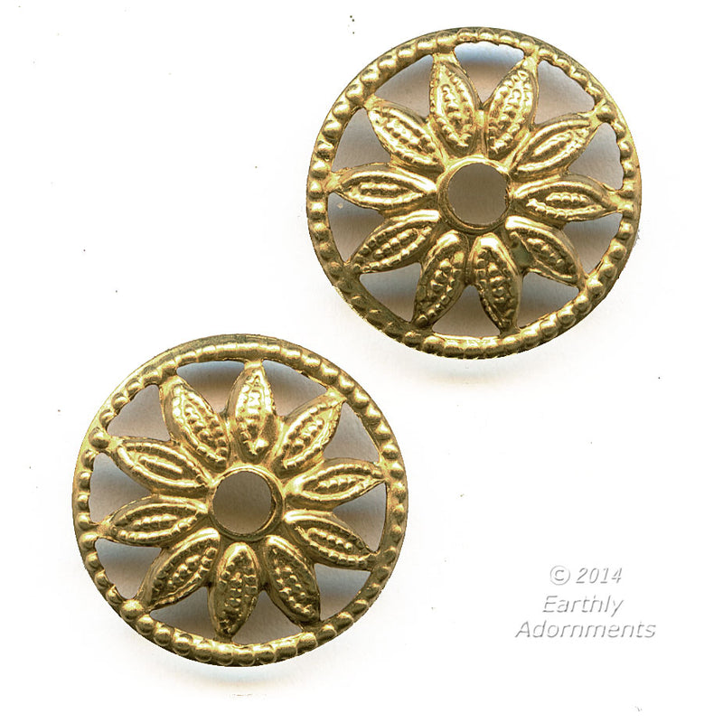 Vintage brass plated wheel connector with flower design. 13mm. Pkg. of 6. b9-2352