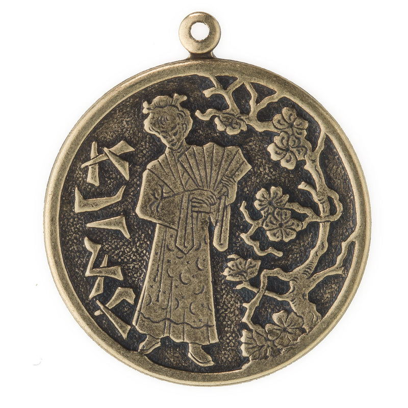 Oxidized stamped brass charm with Japanese design. 33x28mm. Package of 2. b9-2380(e)
