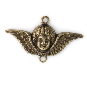 Stamped Victorian style oxidized brass angel charm or connector. 22x36mm. Package of 2. b9-2385(e)