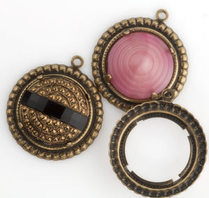 Stamped oxidized brass round pronged setting for 17mm cabochon. 28x15mm. Sold individually. b9-2388(e)