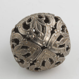 Oxidized brass stamped filigree focal bell shaped bead. 28mm. Sold individually. b9-2397(e)