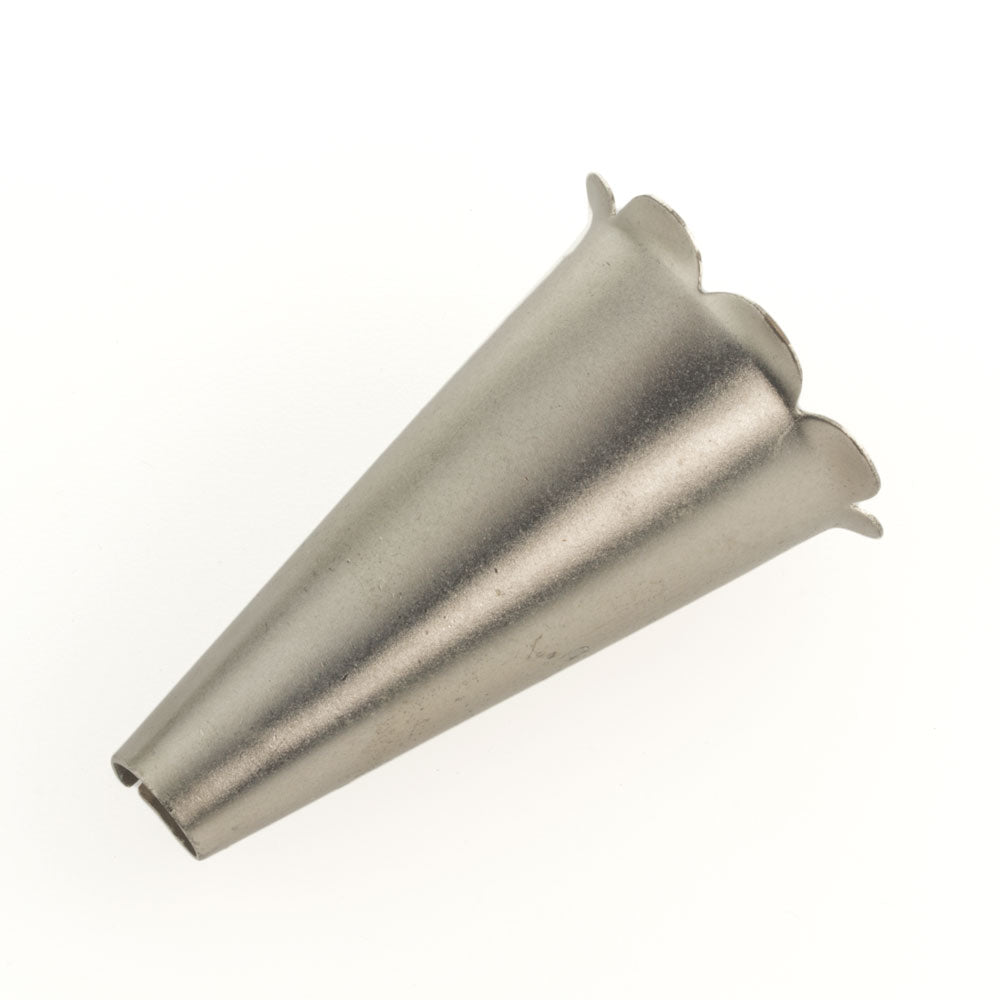 "Silver metal cone with petal edges, 2 x 1 1/4"". Sold individually. b9-2405(e)"