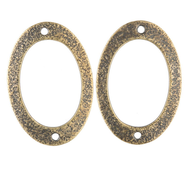 Stamped textured oxidized 2-hole brass connector oval ring. 22x26mm Pkg of 4. b9-2409(e)