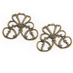 Stamped oxidized brass filigree connector 22x16mm. Package of 2. b9-2410(e)