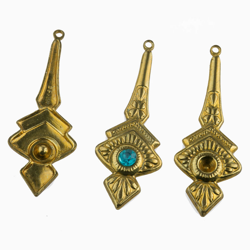 Brass pendant with rhinestone setting 42x15mm. 1 pair. b9-2412(e)
