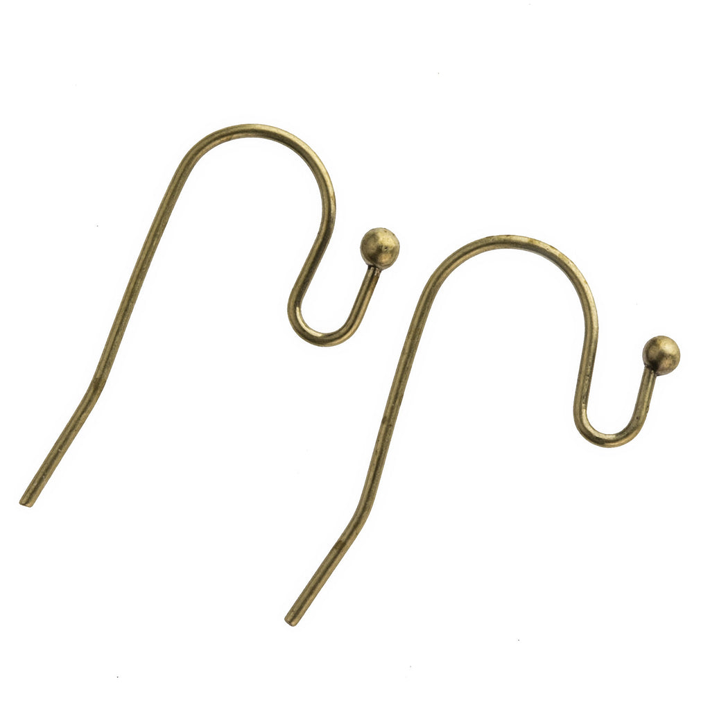 Oxidized brass French hook ear wire with ball. 10 pcs . b9-2421(e)