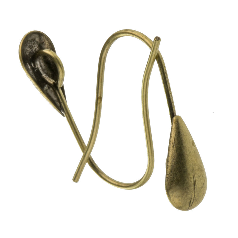 Oxidized brass fish hook earwire. 4pcs . b9-2419(e)
