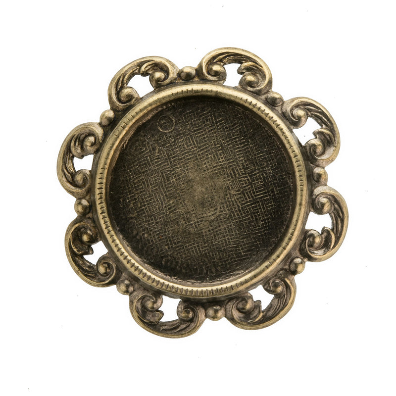 Oxidized brass fancy scalloped edge solid back setting for round 17-18mm cabochon. Sold individually. b9-2425(e)