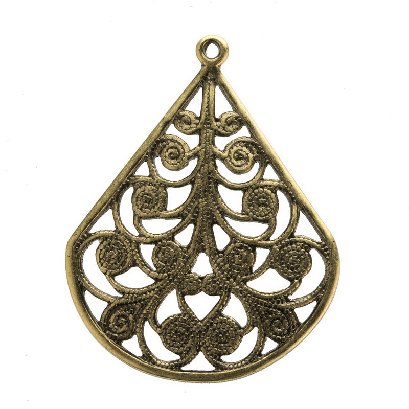 Oxidized brass stamped filigree teardrop shaped pendant. 1 ring. 28x22mm. Pkg of 2. b9-2427(e)