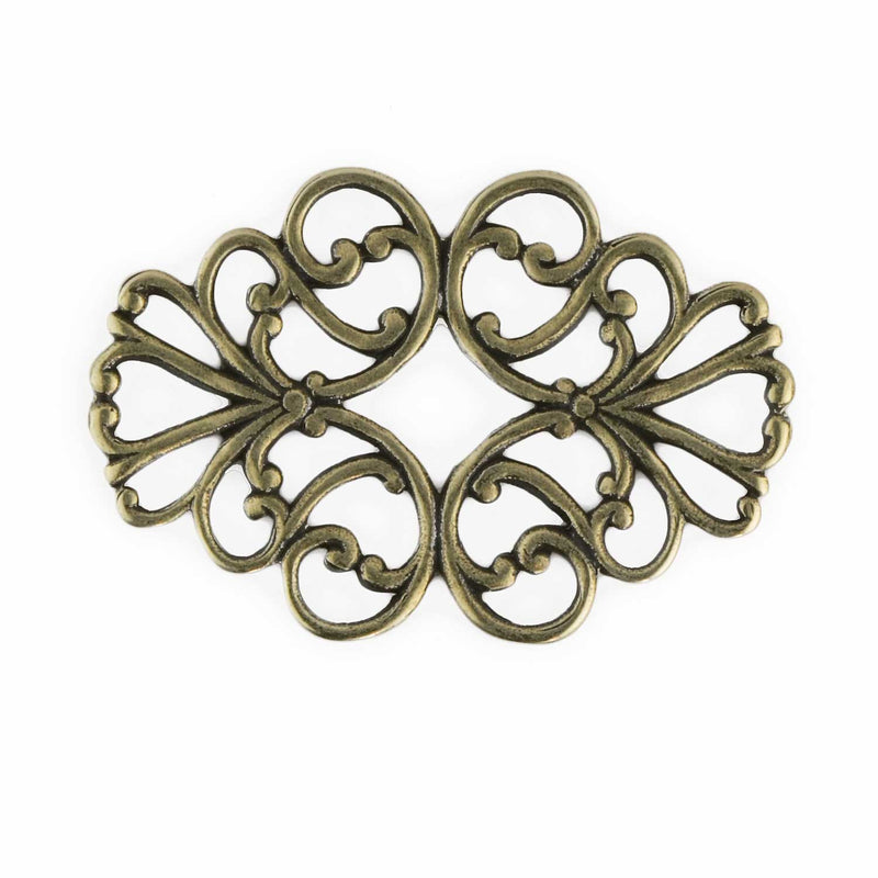 Stamped oxidized brass filigree connector 34x22mm. Sold individually. b9-2433(e)