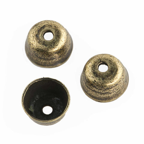 Antiqued brass cup shaped bead cap. 4mm. Pkg of 10. b9-2435(e)