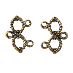Oxidized brass rope 2 strand infinity connector. 16x11mm. Package of 10. b9-2444(e)